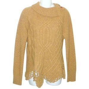 MOTH Gold Marled Wool Tunic Split Cowl Sweater